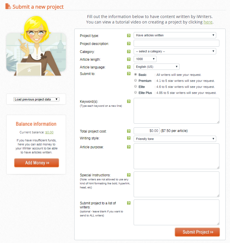 iWriter-Submit-a-new-project-form