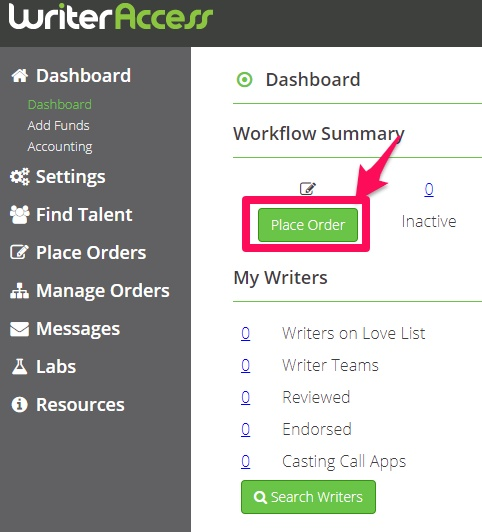 Writer-Access-Place-Order