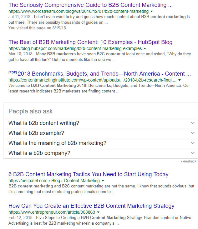 SERP-results-of-B2B-Content-Marketing