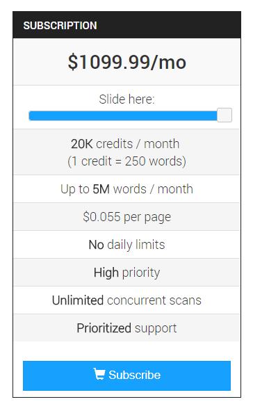 CopyLeaks pricing plan example