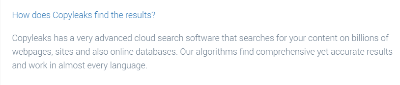 CopyLeaks database result example