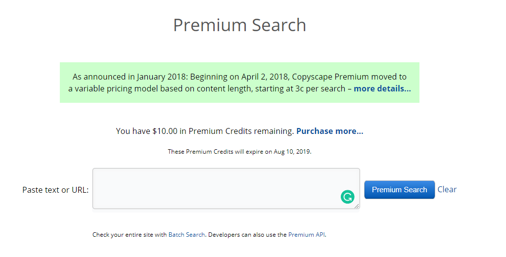 best plagiarism checker CopyScape homepage