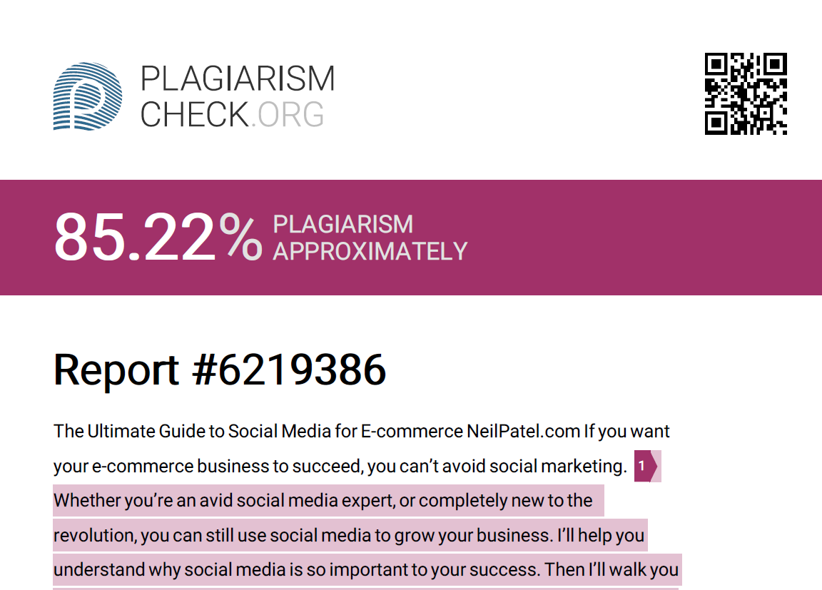best plagiarism checker detailed reporting from Plagiarism Check