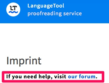 Example screenshot of Language Tool's forum service.