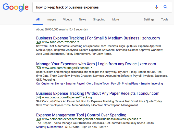 Google-search-for-keeping-track-of-business-expenses