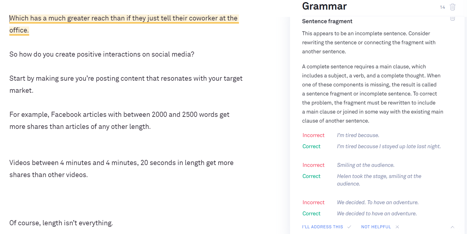Grammarly flagging a sentence fragment mistake.