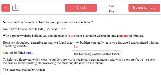 Example screenshot of Scribens grammar checker.