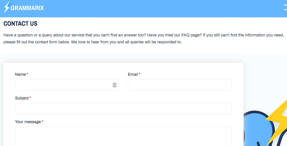 Example screenshot of Grammarix's contact form page.