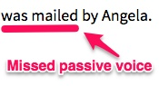 Example screenshot of Language Tool's no passive voice feature.