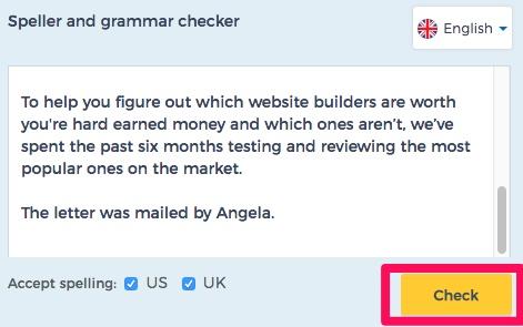 Reverso speller and grammar checker example