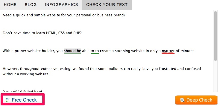 Example screenshot of GrammarCheck's homepage where you can see the textfield.
