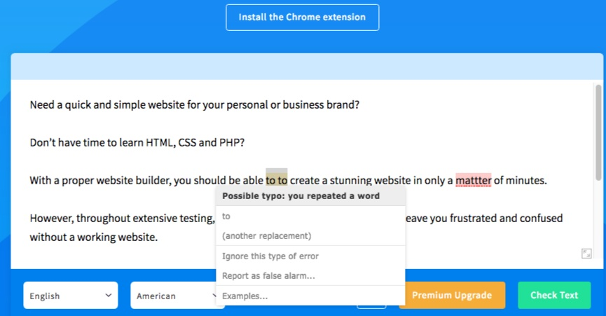 Example screenshot of LanguageTool's interface.