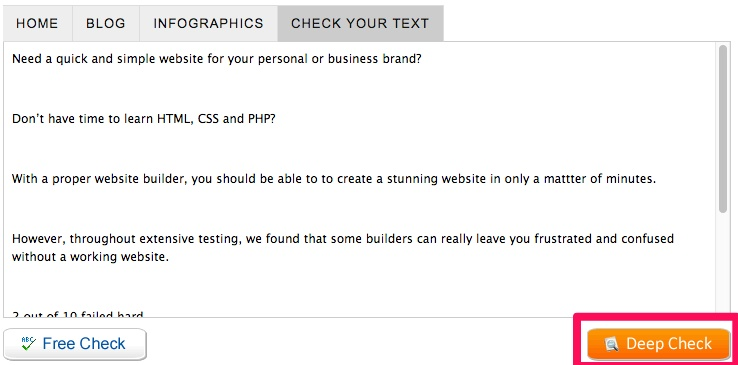 Example screenshot of GrammarCheck Deep Check option.
