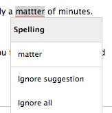 Example screenshot of GrammarCheck's correction.