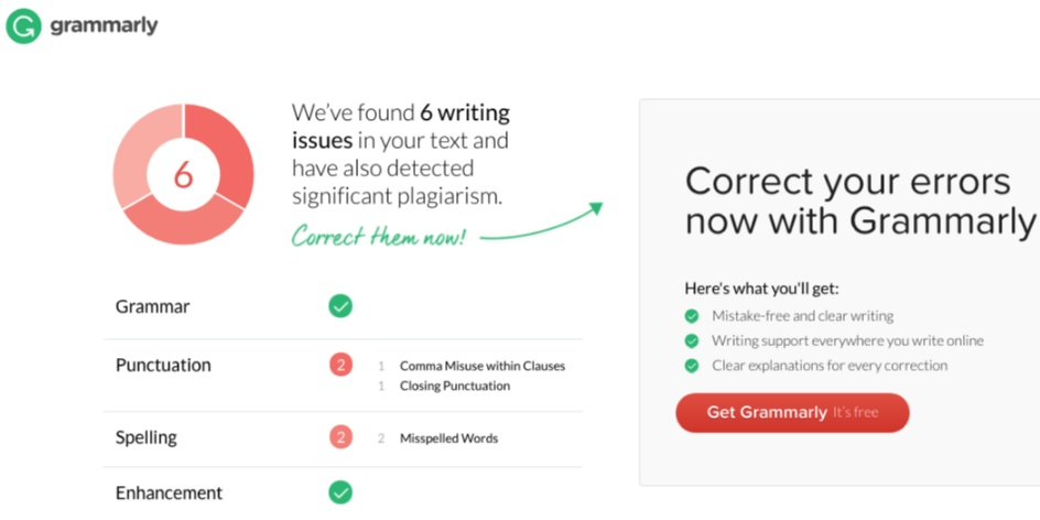 Example screenshot of GrammarCheck's Deep Check redirect page.