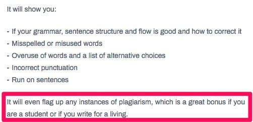 Example screenshot of Grammarix's plagiarism detector.