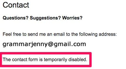 Example screenshot of Grammar's customer service/contact form.