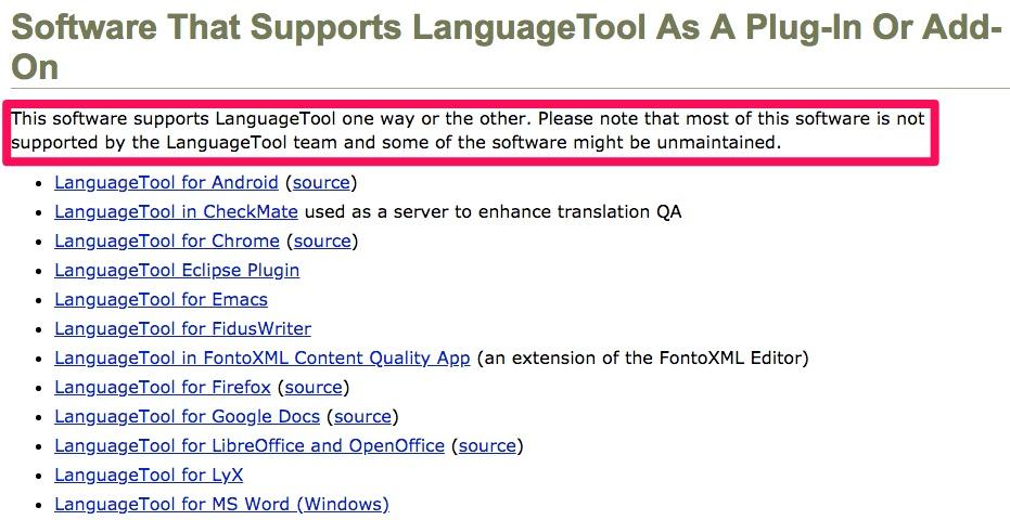 Example screenshot of LanguageTool' software plug-in.