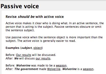 Example screenshot of GrammarCheck's sophisticated grammar feature.