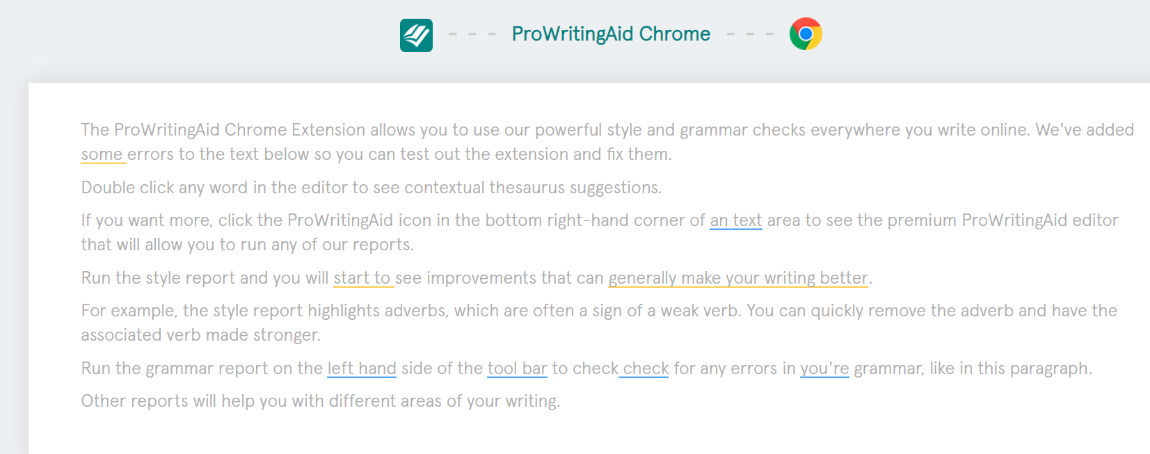 ProWritingAid Chrome Extension example
