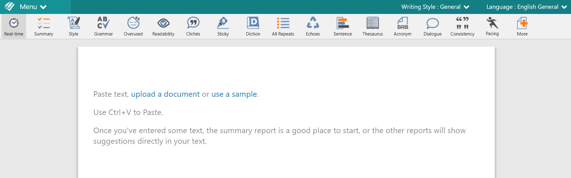 ProWritingAid Text Editor example