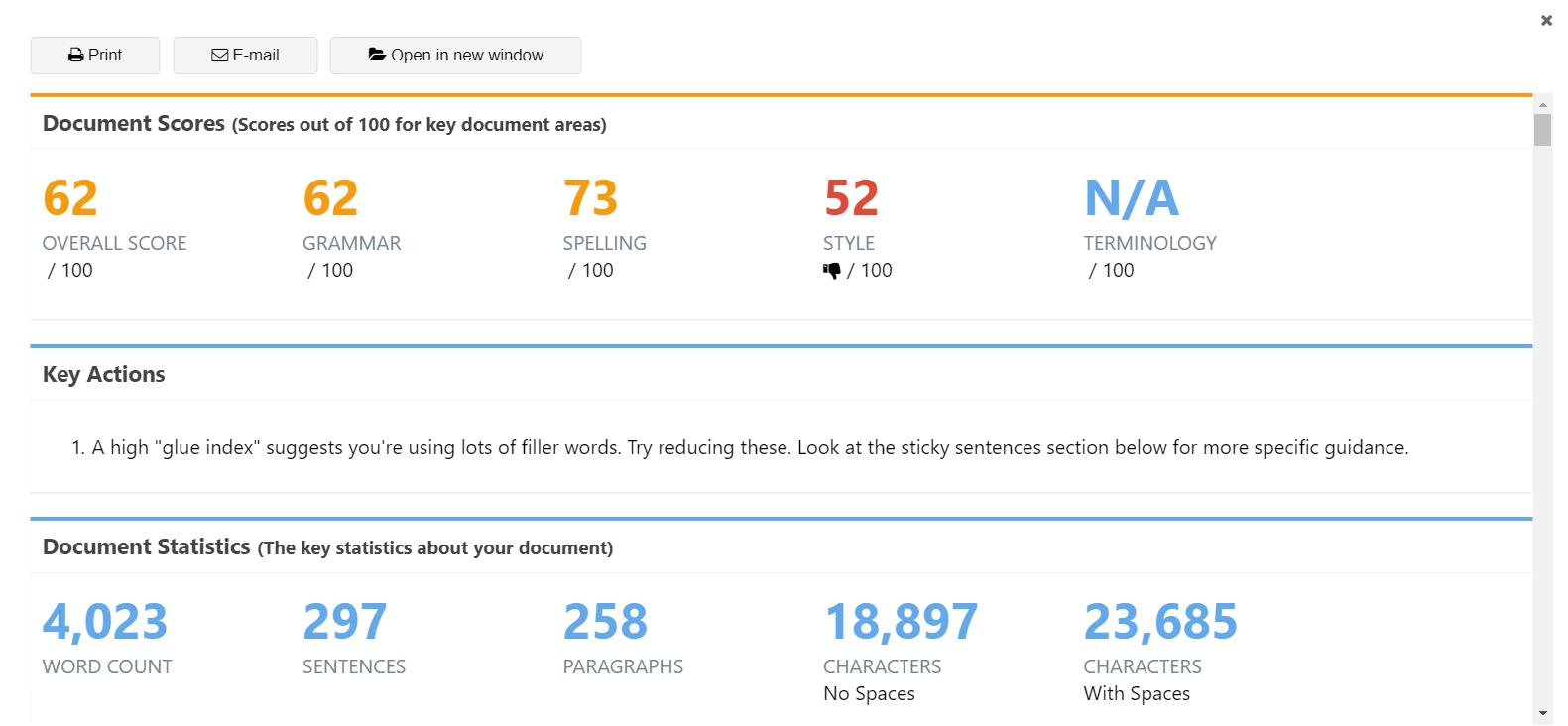 ProWritingAid Grammar Checker Reporting