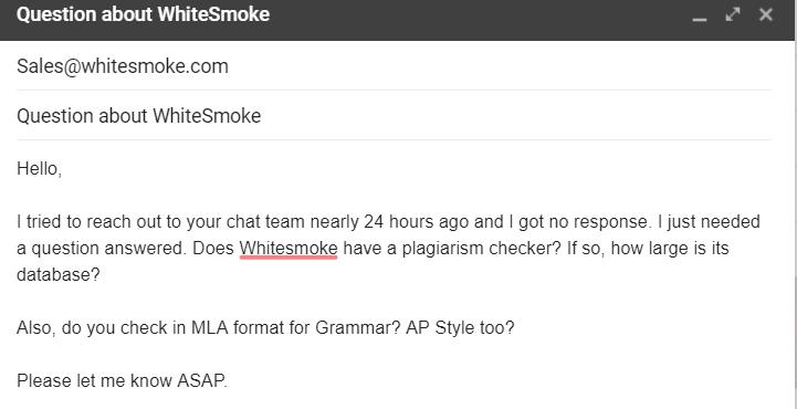 WhiteSmoke Support Email Inquiry