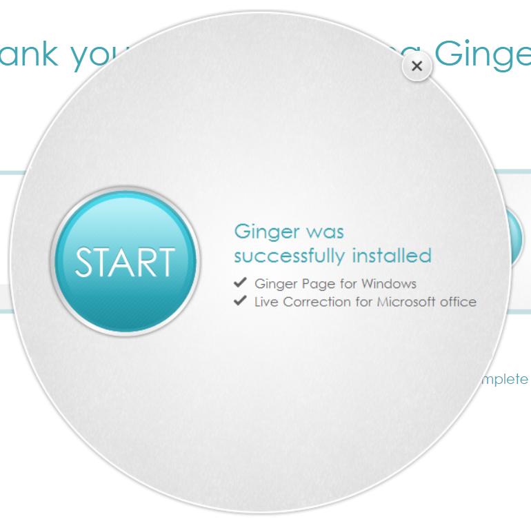 Ginger Grammar Successful Installation