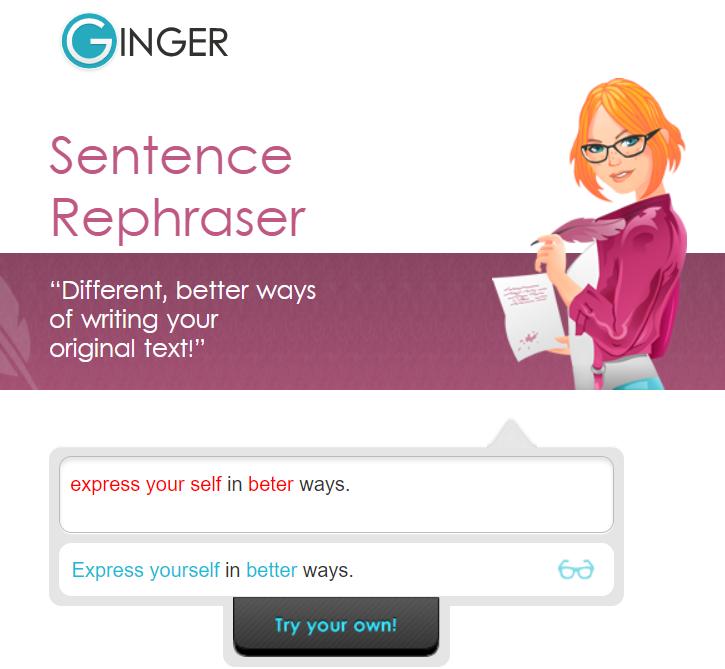 Example screenshot of Ginger Grammar Sentence Rephraser