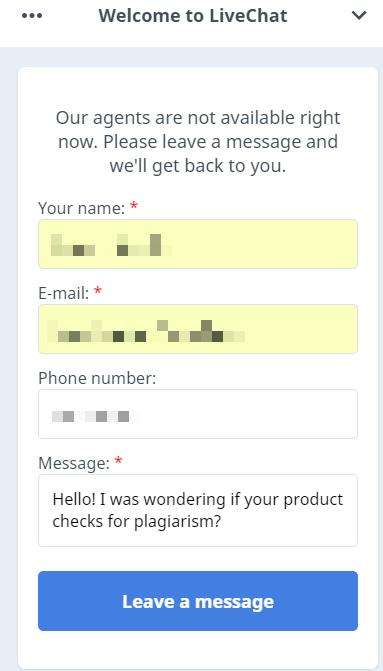 WhiteSmoke Live Chat Question