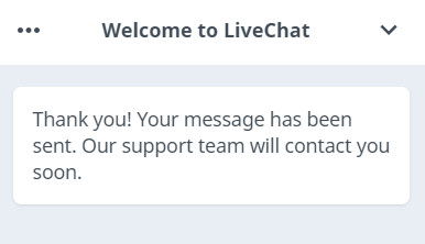 WhiteSmoke Live Chat Confirmation Message