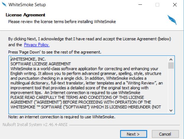 WhiteSmoke License Agreement Screenshot