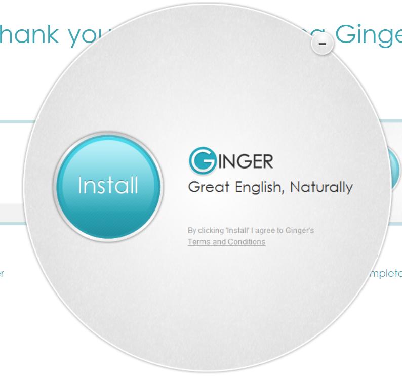 Example screenshot of Ginger Grammar Install Window.