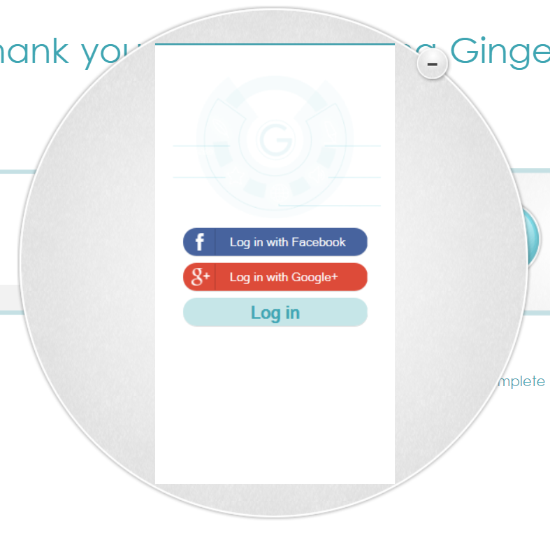 Example screenshot of Ginger Grammar Log In Screen