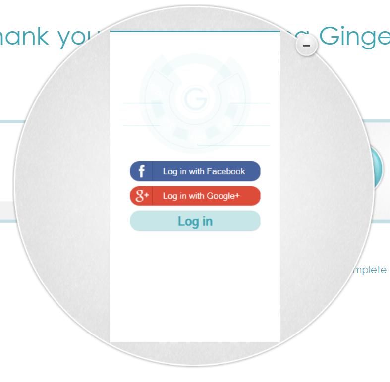 Ginger Grammar Log In Screen