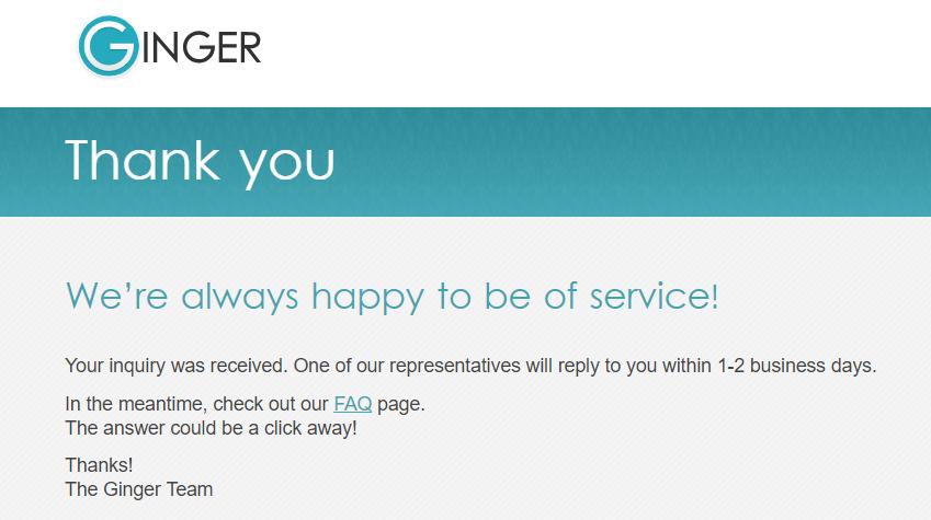 Example screenshot of Ginger Grammar Support Confirmation