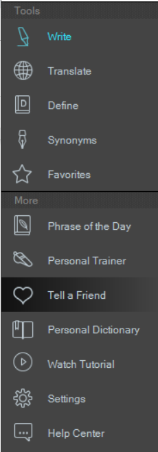Example screenshot of Ginger Grammar Tool Options