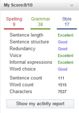 WhiteSmoke Grammar Scoring System