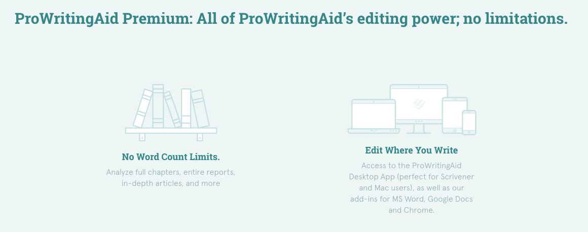 ProWritingAid Premium Device Options breakdown