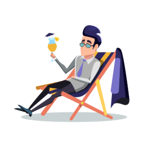 Illustration of businessman relaxing