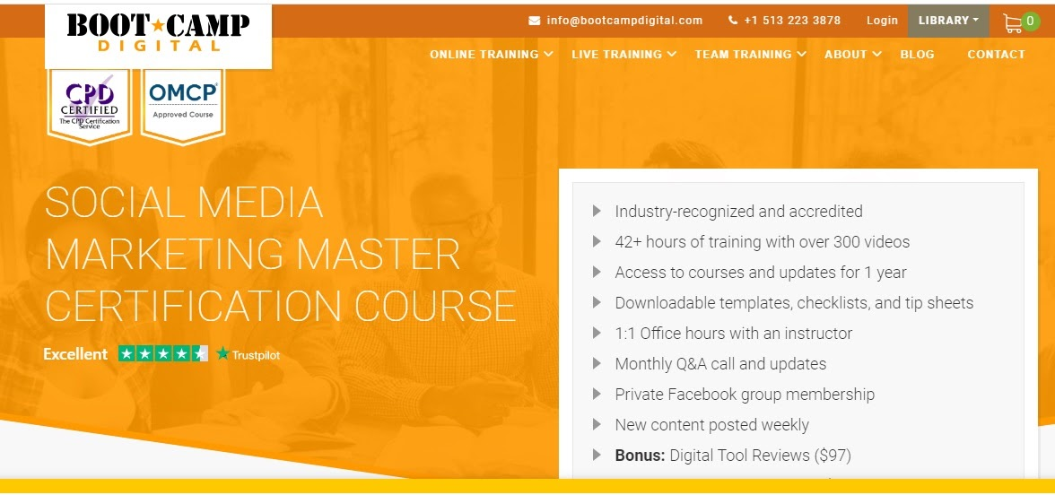 BootCamp Digital's homepage shows what is included in their masterclass.