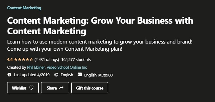 This is Udemy's ad for content marketing.