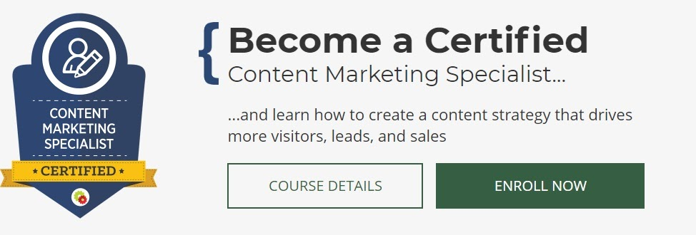 A content marketing specialist badge.