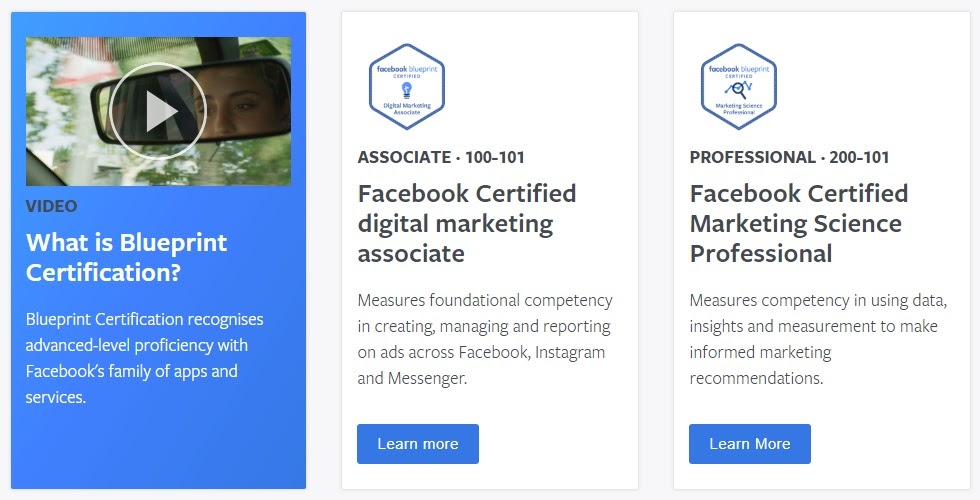 This is Facebook's digital marketing certification.