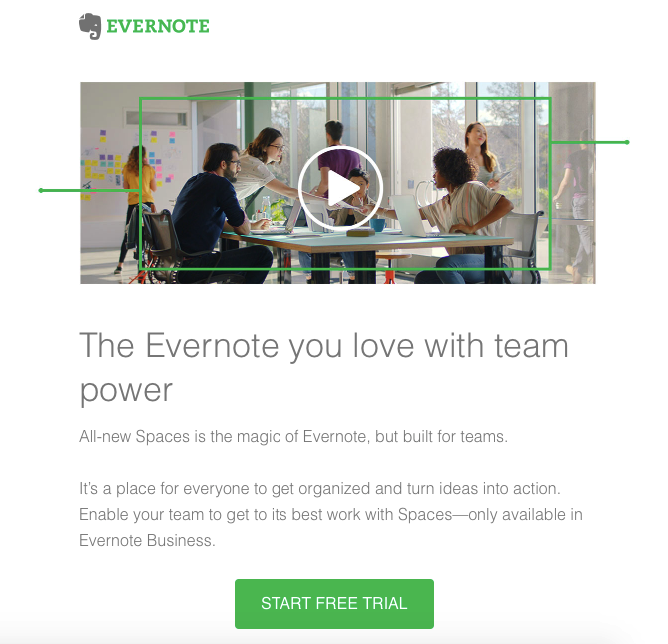 Evernote landing page