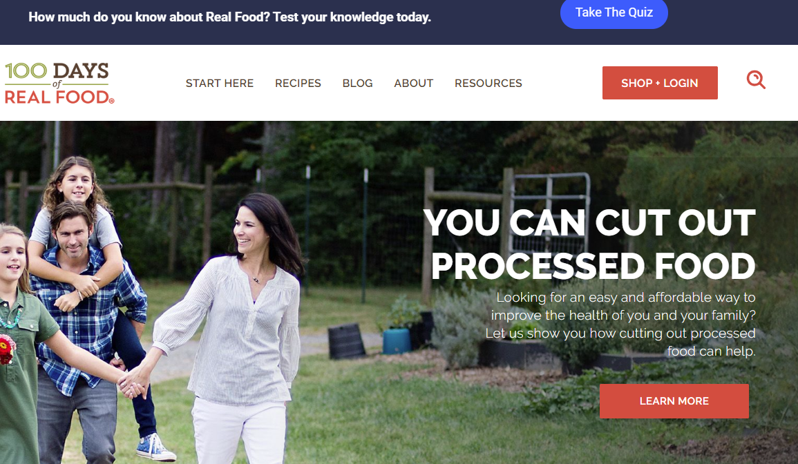 100 Days of Real Food homepage