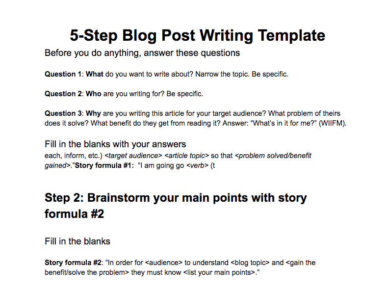 This is a sample blog post writing template.