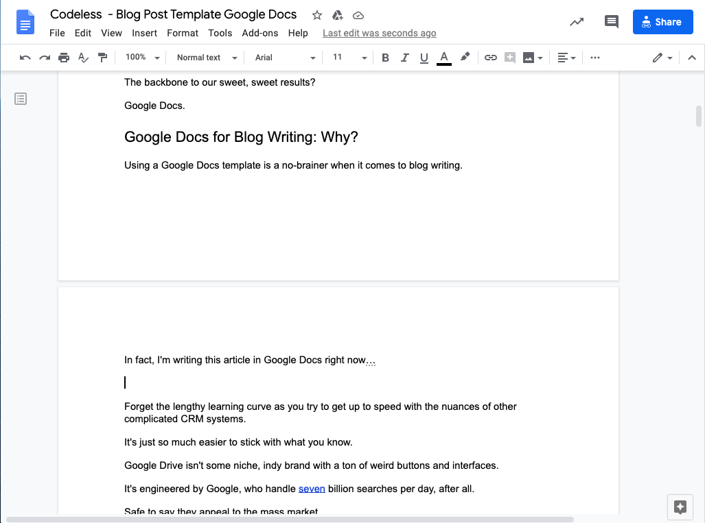 This is a sample article written using Google Docs.