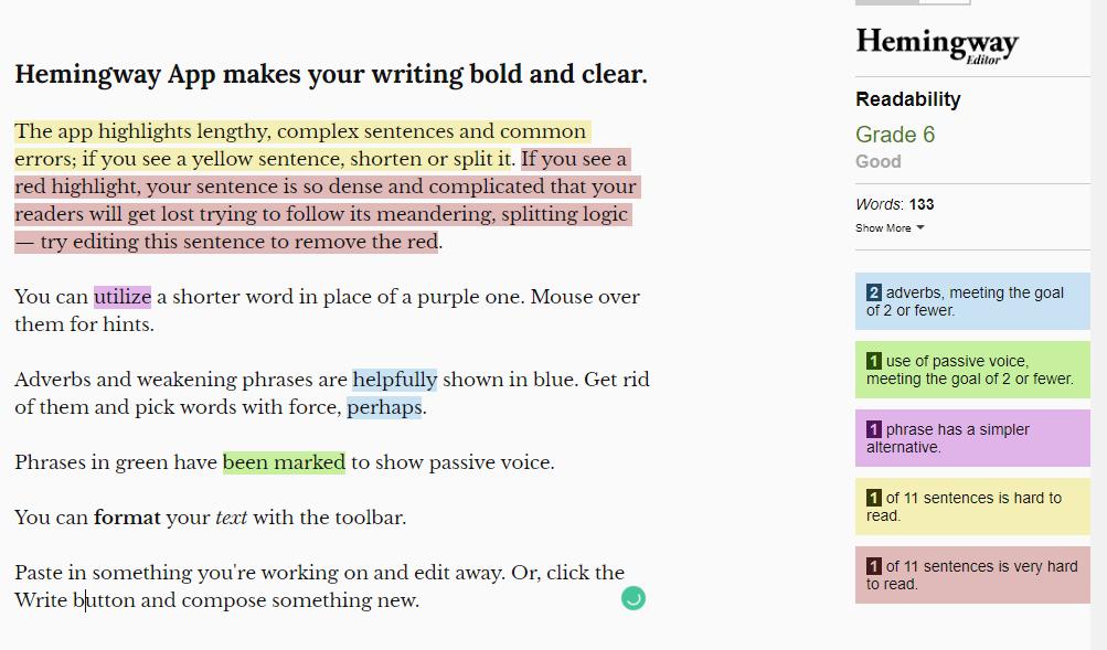 Hemingway readability