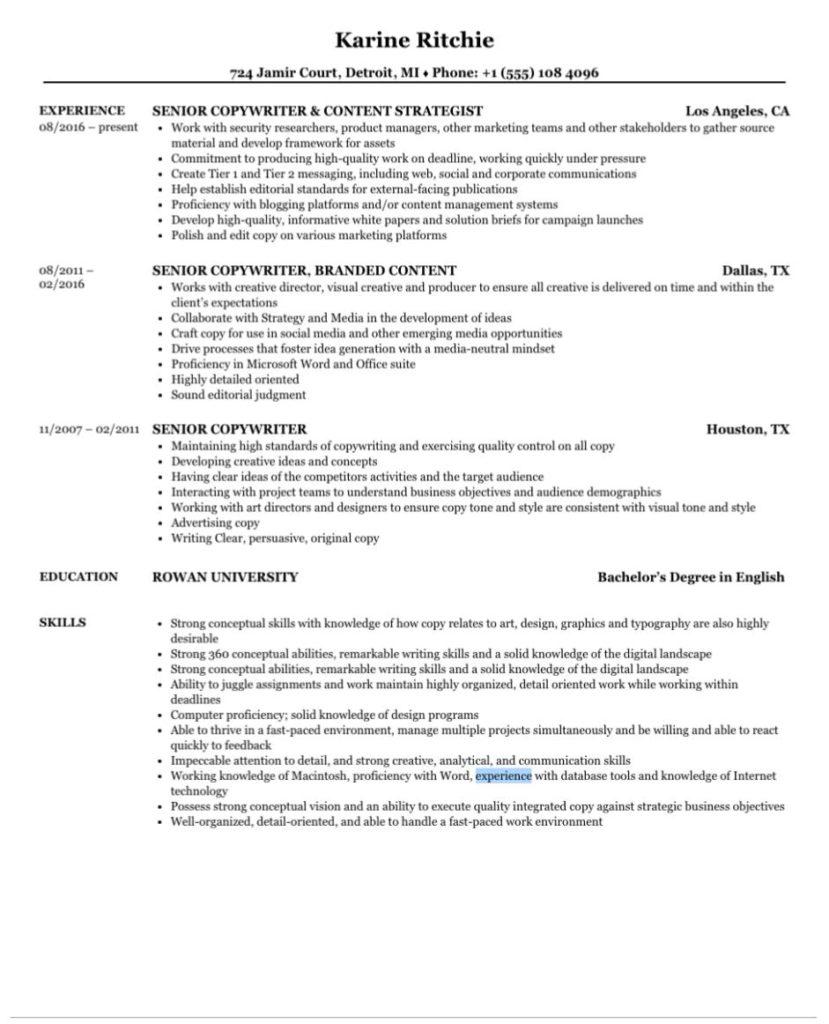 senior copywriter resume